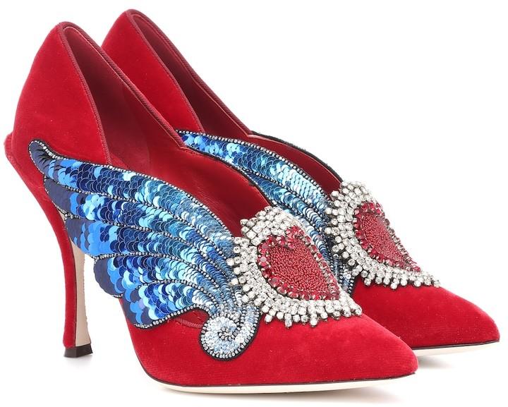 Dolce & Gabbana Lori embellished velvet pumps