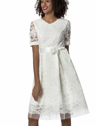 APART Fashion Women's Apart Elegantes Damen Kleid Brautkleid Farbton: Creme aus Spitze und Mesh mit Satin-Bindegurtel ausgestellte Form Special Occasion Dress