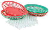 Sunnylife Green/Coral BBQ Baskets & Lining Papers - Set of 6