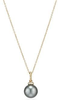 David Yurman Solari Pendant Necklace with Cultured Tahitian Gray Pearl & Diamonds in 18K Gold