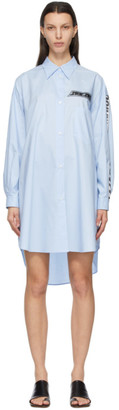 MM6 MAISON MARGIELA Blue Motocross Logo Shirt Dress