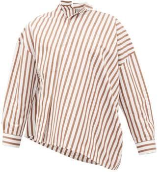 Totême Noma Asymmetric Striped Cotton-poplin Shirt - Womens - Brown White
