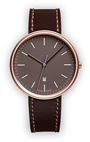 Uniform Wares M38 Quartz Watch with Grey Analogue Dial with Dark Brown Leather Strap