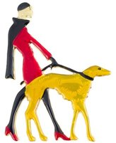 Butler & Wilson Butler and Wilson Vintage Enamel Lady Walking Dog Brooch Red