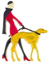 Butler & Wilson Butler and Wilson Vintage Enamel Lady Walking Dog Brooch Red