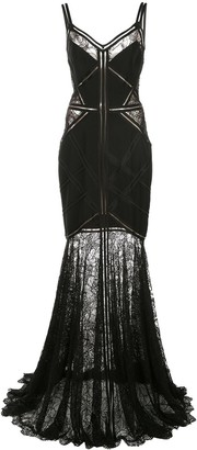 Tadashi Shoji Lace-Embroidered Maxi Dress