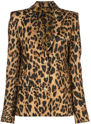 Paco Rabanne Single-Breasted Leopard Blazer