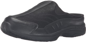 Easy Spirit womens Traveltime Clog Black/Black Leather 6.5 W US