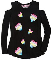 So Nikki... Girls' Cold Shoulder Rainbow Heart Print Thermal Tee - Sizes S-XL
