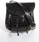 Judith Leiber Brown Alligator Skin Drawstring Crossbody Handbag