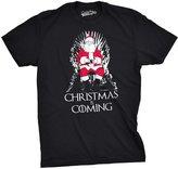 Crazy Dog T-shirts Crazy Dog Tshirts Mens Christmas Is Coming Santa on Throne Holiday T shirt