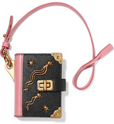 Prada Embellished Textured-leather Keychain - Black