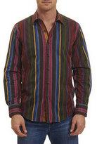 Robert Graham Lateran Mixed-Weave Multi-Stripe Sport Shirt, Multicolor Pattern