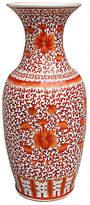 """One Kings Lane 23"""" Twisted Lotus Vase - Orange/White"""