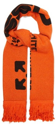 Off-White Logo-intarsia Fringed Scarf - Mens - Orange