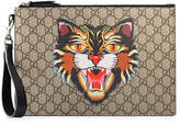 Gucci Cat print GG Supreme pouch