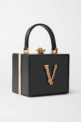 Versace Virtus Embellished Leather Tote - Black