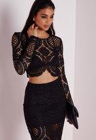 Missguided Disk Crochet Long Sleeve Crop Top Black