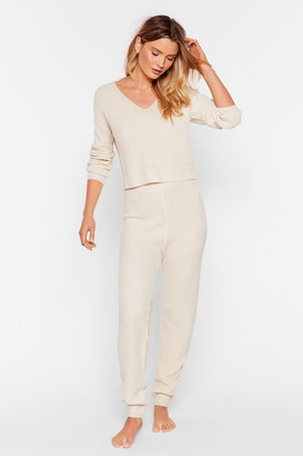 Nasty Gal Womens Knits the Truth Jumper and Jogger Lounge Set - Beige - M