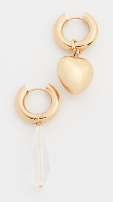 Timeless Pearly Gold Heart / Crystal Drop Hoops