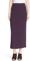 Tanya Taylor Stripe Ribbed Midi Skirt