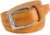 Pakerson Men's Ocher Hand Painted Italian Leather Belt