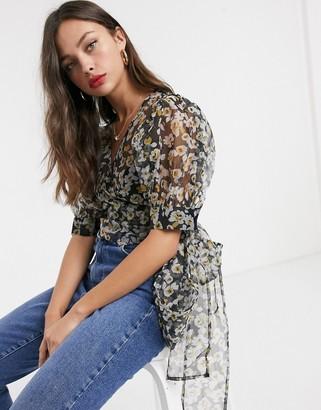 Asos Design DESIGN wrap around floral organza top with volume sleeves