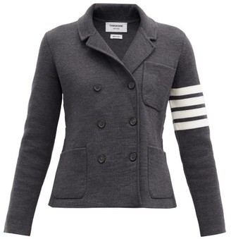 Thom Browne Four-bar Wool-blend Double-breasted Jacket - Dark Grey