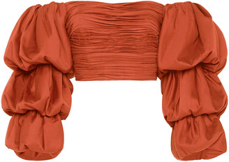 Aje Transcend Cotton Off-The-Shoulder Crop Top
