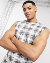 Another Influence sleeveless t-shirt vest in heritage check