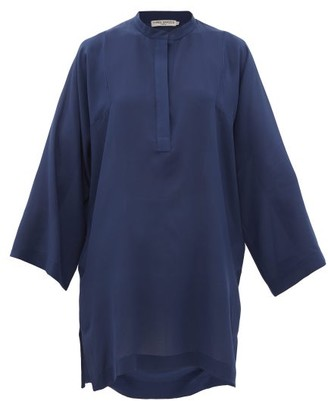 Three Graces London Belinda Silk Crepe De Chine Tunic Top - Blue