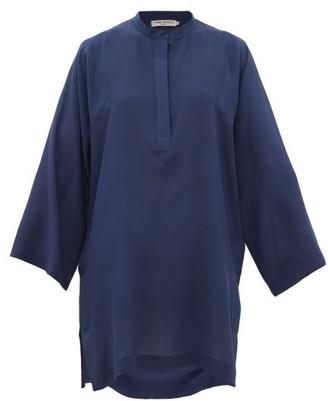 Three Graces London Belinda Silk Crepe De Chine Tunic Top - Womens - Blue