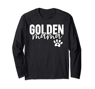 Golden Retriever Cute Golden Mama with Paw Print Dog Mom Long Sleeve T-Shirt