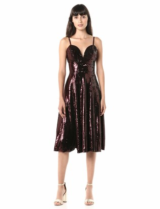 Dress the Population Women's Mimi Sleevless Fit & Flare Sequin Midi Dress