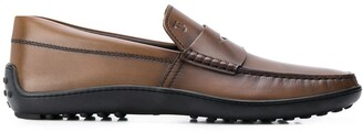 Tod's Rubber-Footbed Tarnished Loafers