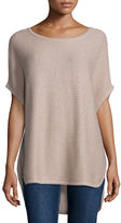 Neiman Marcus Horizontal-Ribbed Sequin Cashmere Top