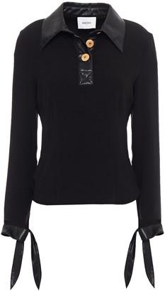 Nanushka Agnes Vegan Leather-trimmed Crepe Polo Shirt