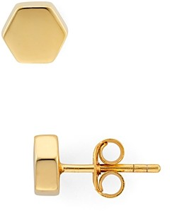 Argentovivo Geo Stud Earrings in 18K Gold-Plated Sterling Silver