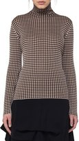 Akris Check Jacquard Polo-Neck Top, Neutral