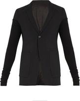 Rick Owens Single-breased contrast-sleeve wool-blend blazer