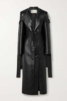 MATÉRIEL Tie-detailed Faux Leather Coat - Black