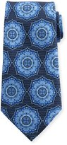 Ermenegildo Zegna Ornate Medallion Silk Tie, Blue