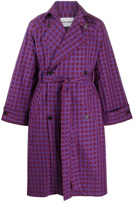 Henrik Vibskov Check Print Belted Trench Coat