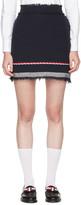 Thom Browne Navy Tweed Selvedge Hem Miniskirt