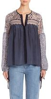 Chloé Printed Lace-Detail Henley Blouse