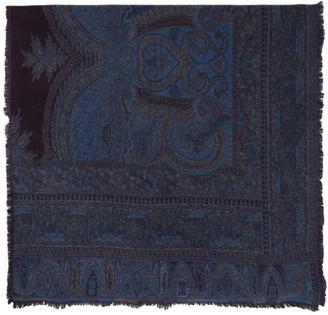 Etro Navy Wool Jacquard Scarf