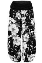 MeiC Women's Printed Comfy Chic Lounge Boho Harem Pants White Floral