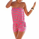 QIYUN.Z Seaside Beach Women Strapless Wave Stripes Tube-Tops Shorts Jumpsuits Rompers