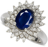 Macy's 14k White Gold Ring, Sapphire (2-1/5 ct. t.w.) and Diamond (1/2 ct. t.w.) Oval