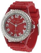 Silver Bin SilverBin Tressa Women's Red Rhinestone-accented Silicone Watch